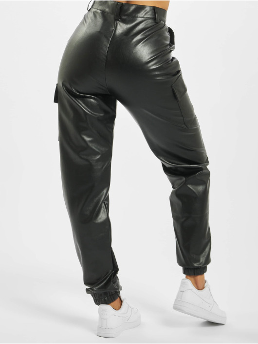 Missguided Pantalon cargo Faux Leather noir