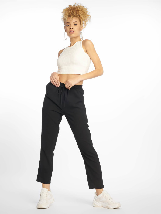 Missguided Pantalon chino Black Tie Waist noir