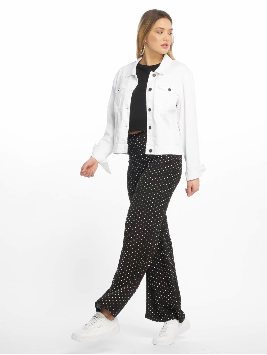 Missguided Pantalon chino Black Cheesecloth Polka Dot Wide Leg noir