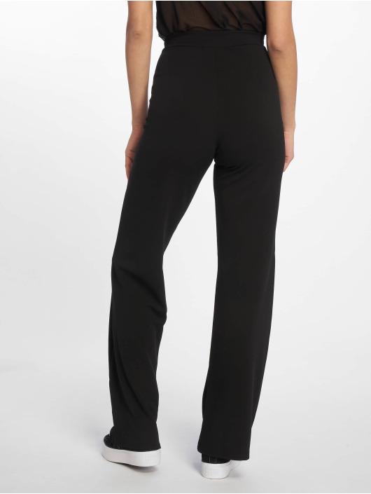 Missguided Pantalon chino Stretch Crepe Tab Button Detail Wide Leg noir