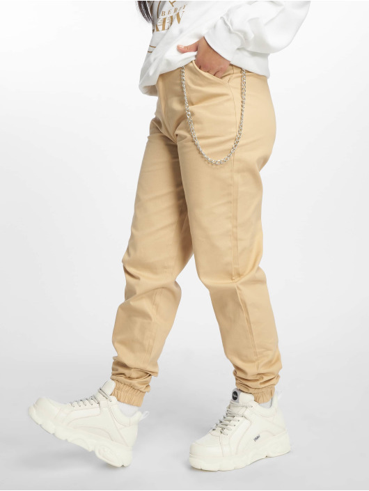 Missguided Pantalone Cargo Chain beige