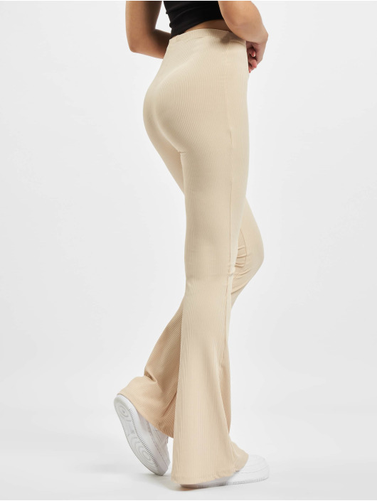 Missguided Pantalone ginnico Ribbed Flare beige