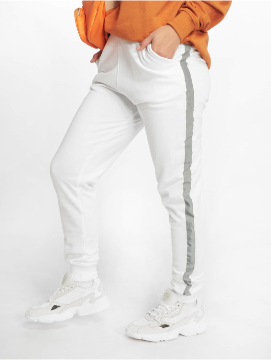 Missguided Pantalone ginnico Reflective Detail Stripe bianco