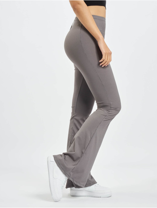 Missguided Pantalone ginnico Ribbed Flare grigio