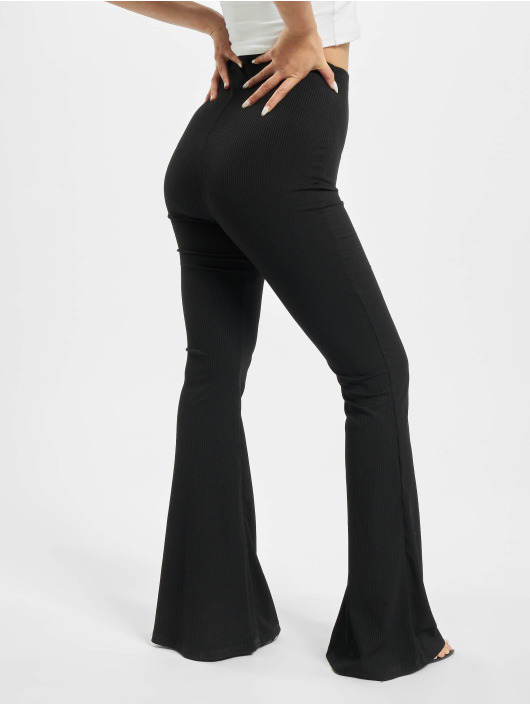 Missguided Pantalone ginnico Ribbed Flare nero