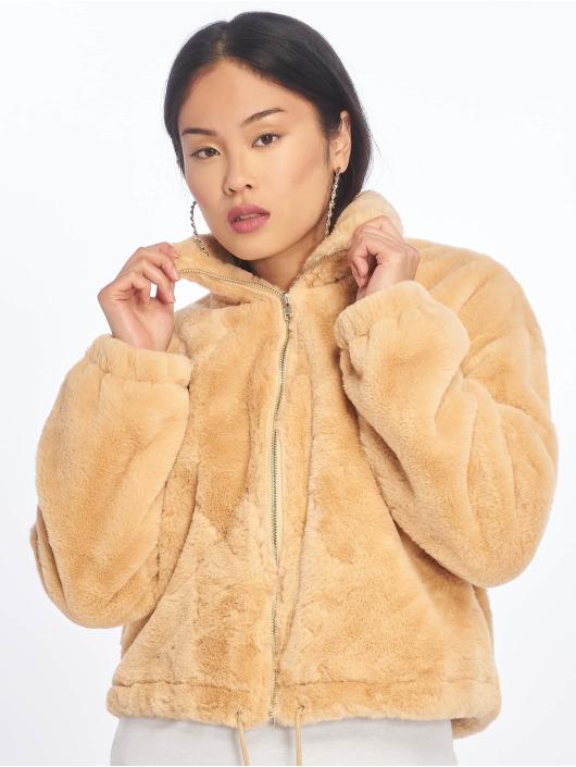 Missguided Puffer Jacket Faux Fur beige