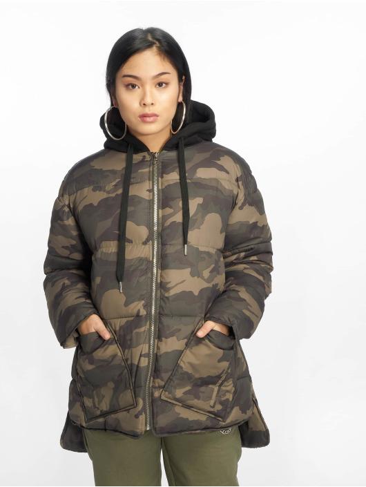 Missguided Puffer Jacket Longline Camo khaki