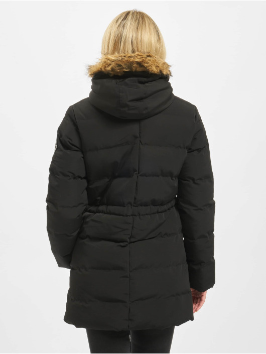 Missguided Puffer Jacket Longline Sporty schwarz