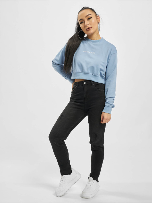 Missguided Pullover Cropped Rib Hem blue