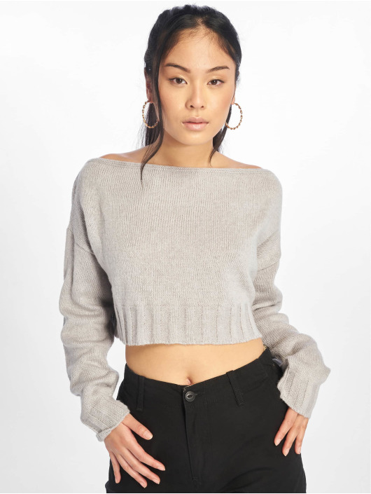 Missguided Pullover Brushed Off The Shoulder Knitted Jumper grau