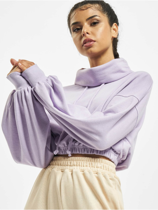 Missguided Pullover Crop Cowl Neck purple