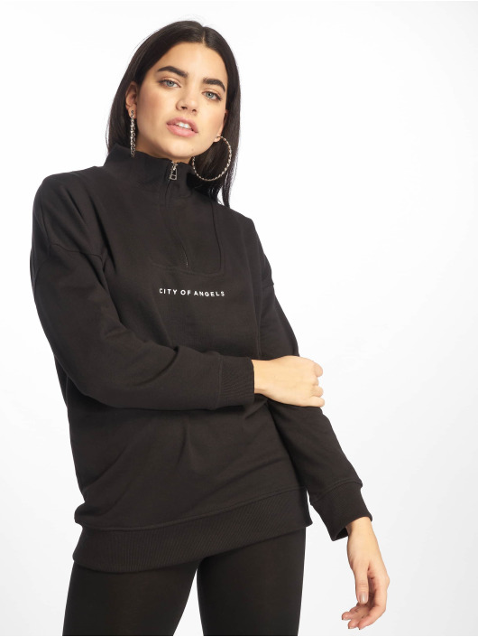 Missguided Pullover City Of Angels Zip Over Sized schwarz