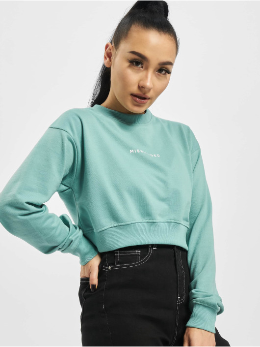 Missguided Pullover Cropped Rib Hem turquoise