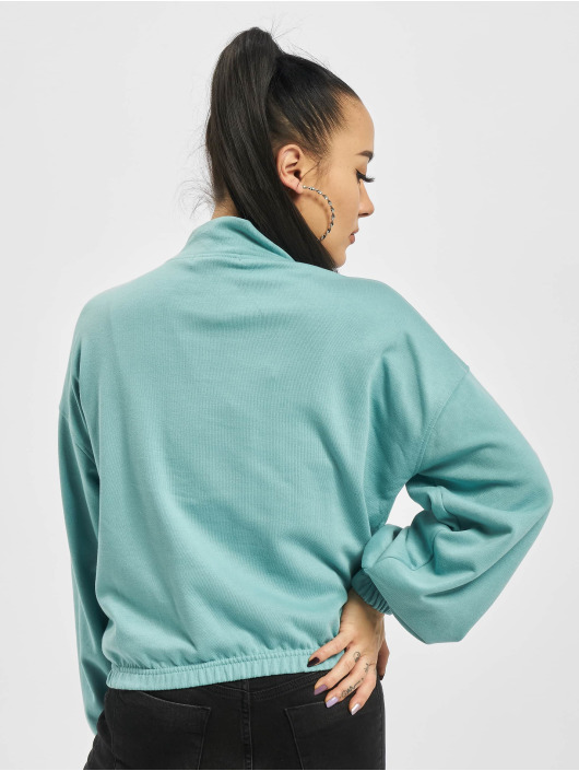 Missguided Pullover Half Zip Kangroo Pocket turquoise