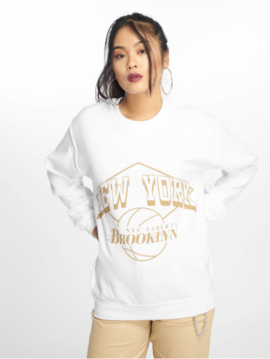 Missguided Pullover New York Brooklyn Graphic weiß