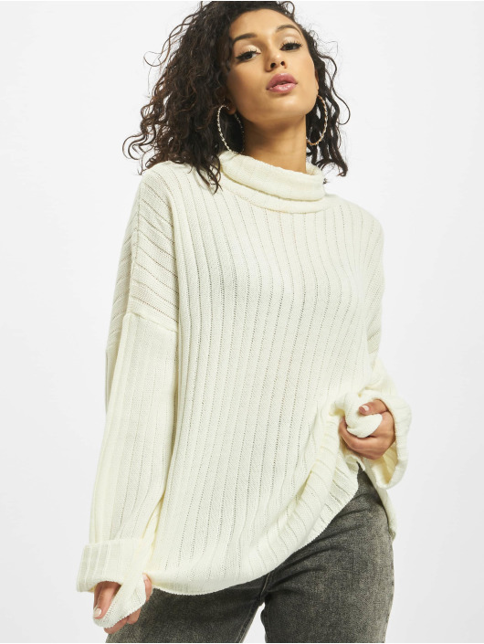Missguided Pullover Premium Roll Neck Step Hem weiß
