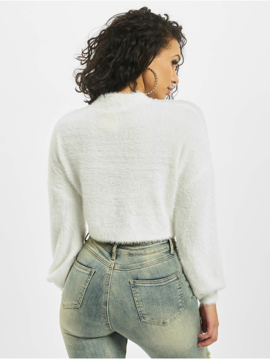 Missguided Pullover High Neck Fluffy Balloon Sleeve weiß