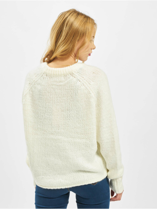 Missguided Pullover Petite Crew Neck With Rolled Hem white