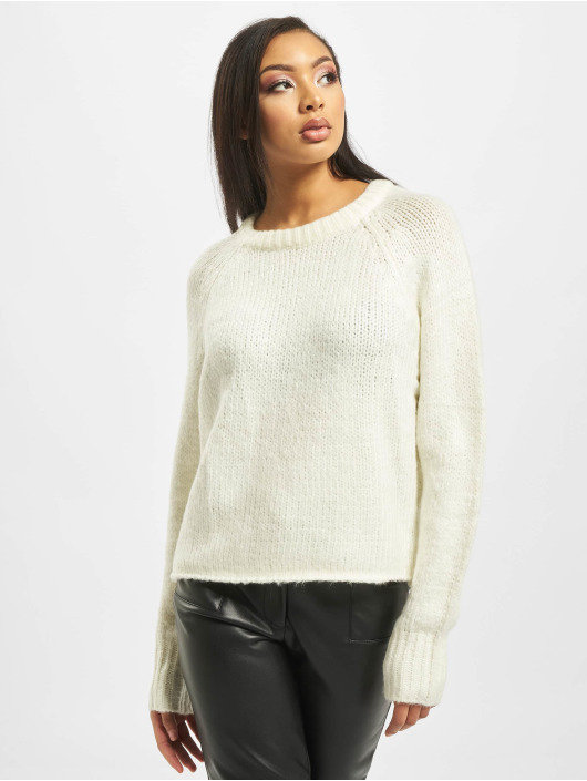 Missguided Pullover Cosy Crew Neck Roll Hem white