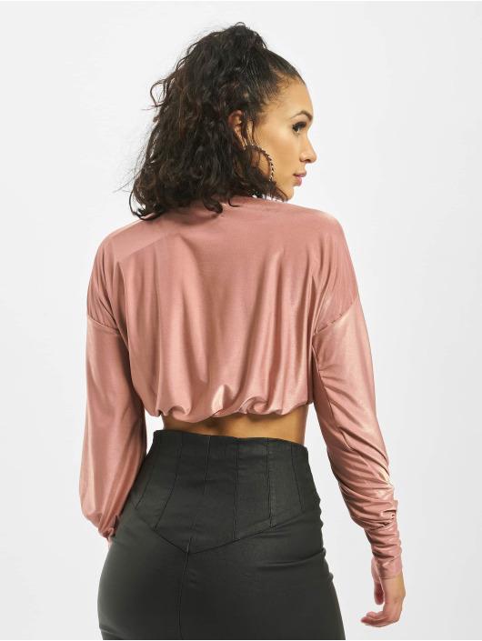 Missguided Pulóvre Shimmer Puff Sleeve High Neck Croped ružová