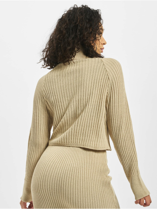 Missguided Puserot Roll Neck Batwing Crop Co Ord beige