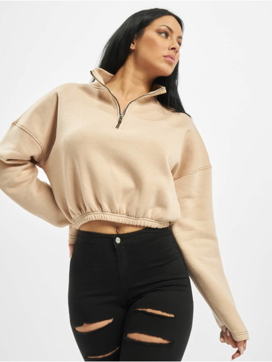 Missguided Puserot Zip Front High Neck Gathered Waist beige