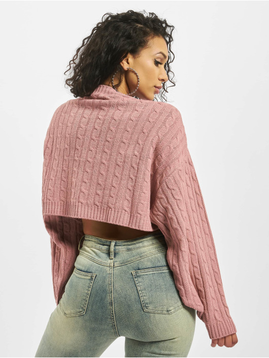 Missguided Puserot Cable Batwing Cropped Co Ord roosa