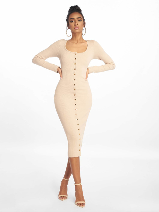 Missguided Robe Rib Ls Popper Midi beige