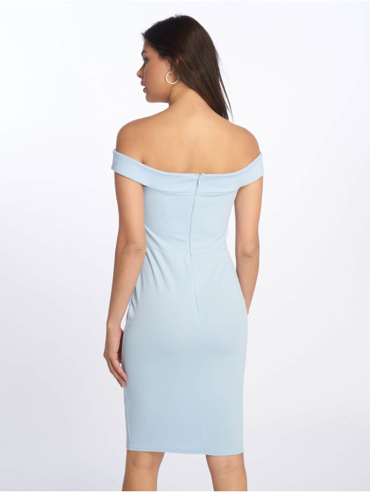 Missguided Robe Scuba Bardot Midi Bodycon bleu