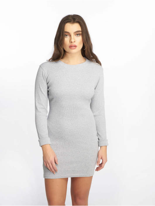 Missguided Robe Ribbed Long Sleeve Bodycon gris