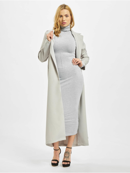 Missguided Robe Roll Neck Corset Detail Midi gris