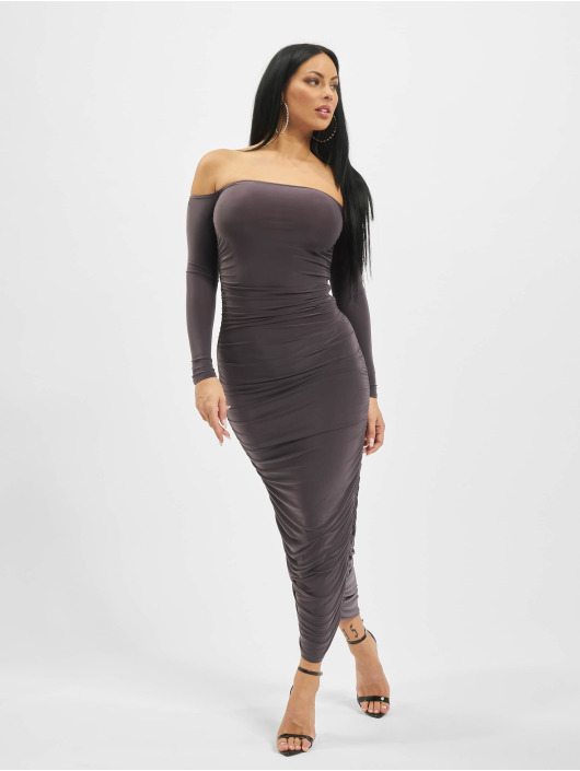 Missguided Robe Bardot Slinky Ruched Midaxi gris