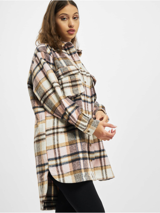 Missguided Robe Oversized Shirt Brushed Check magenta