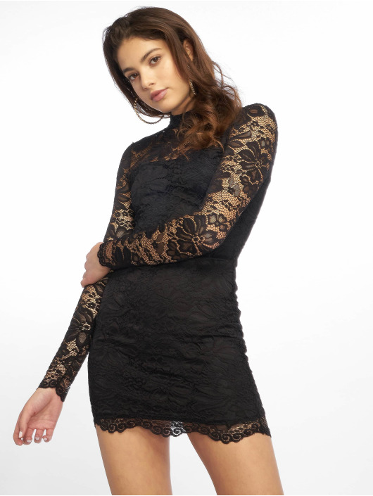 Missguided Robe High Neck Long Sleeve Lace Midi noir