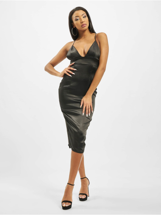 Missguided Robe Stretch Satin Cupped Cami Midi noir