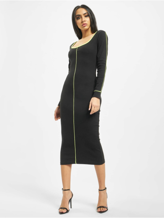 Missguided Robe Ribbed Scoop Neck Longsleeve Piped Midi noir