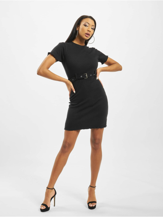 Missguided Robe Tall Belted Crew Neck Rib Mini noir
