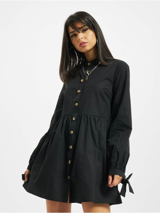 Missguided Robe Tie Cuff Shirt Horn Button noir