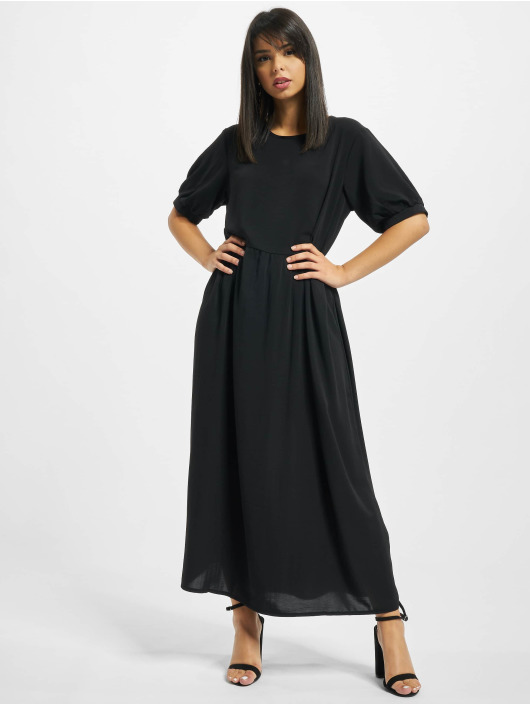 Missguided Robe Puff Sleeve Midi Smock noir