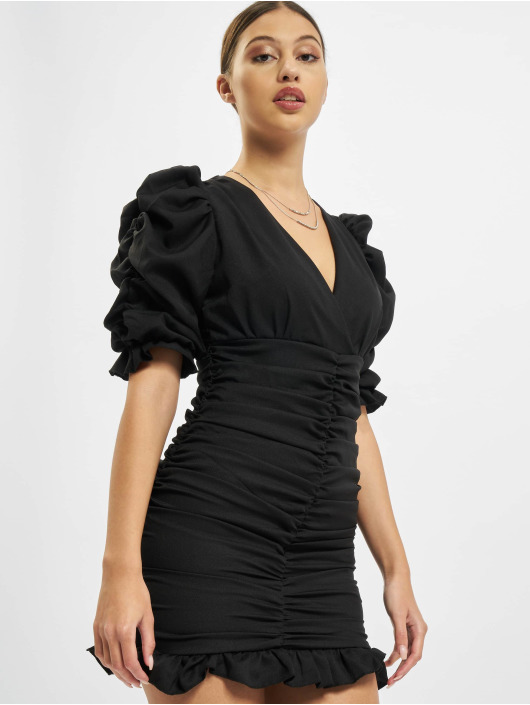 Missguided Robe Short Sleeve Shirred Ruched Mini noir