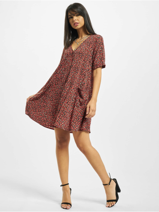 Missguided Robe Button Thru Smock Floral rouge