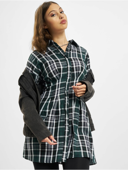 Missguided Robe Pleated Waist Shirt vert