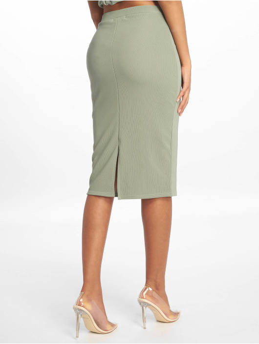 Missguided Rok Ribbed Pencil groen