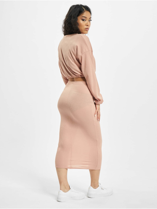 Missguided Rok Coord Rib Crop pink