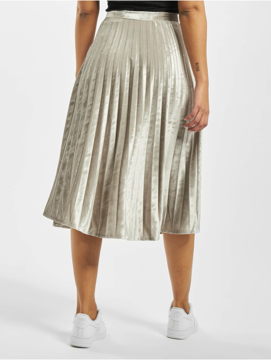 Missguided Rok Tall Velvet Pleated Midi zilver