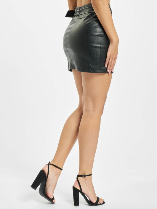 Missguided Rok Faux Leather Buckle Detail zwart