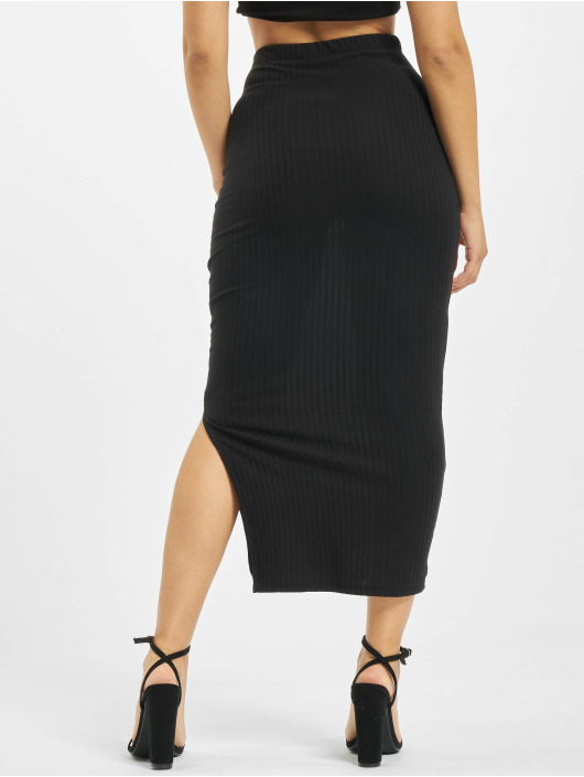 Missguided Rok Coord Midi Ribbed zwart