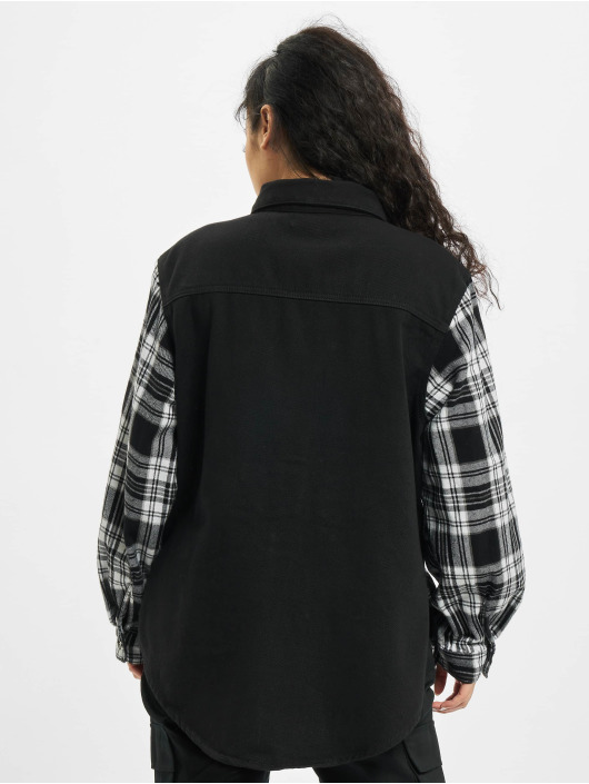 Missguided Shirt Oversized Check Spliced black