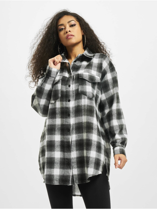 Missguided Shirt Brushed Oversized Basic Check grey