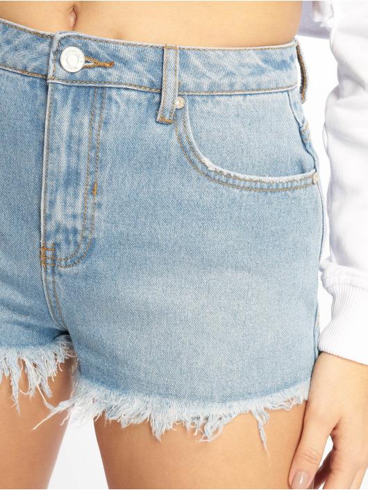Missguided Shorts Highwaisted Extreme Fray Hem Denim blå